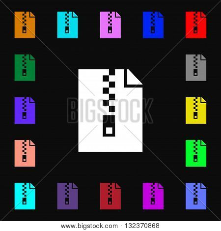 Computer Zip Folder, Archive Icon Sign. Lots Of Colorful Symbols For Your Design. Vector
