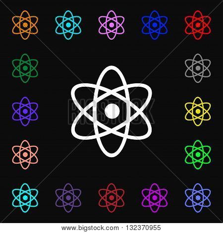 Atom, Physics Icon Sign. Lots Of Colorful Symbols For Your Design. Vector