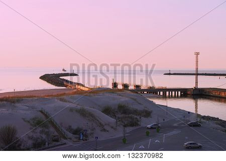 Sunset At The Pier On The Baltic Sea In Ventspils
