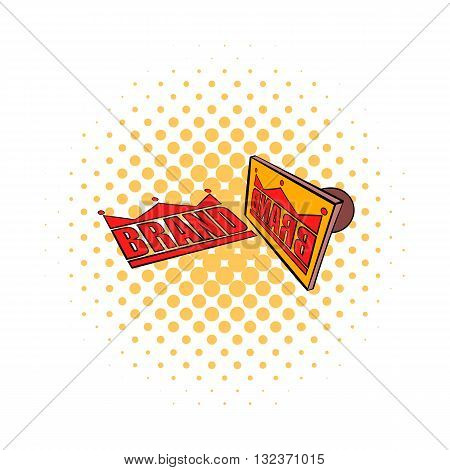 Stamp Brand with red text icon in comics style isolated on white background