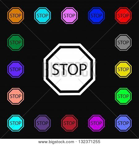 Stop Icon Sign. Lots Of Colorful Symbols For Your Design. Vector