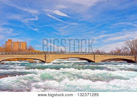 Bridge Over Niagara And Thresholds On Niagara River