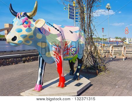 Cow Sculpture In Ventspils Of Latvia