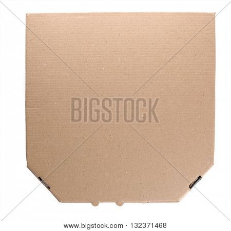 Cardboard pizza box isolated on white background, top view