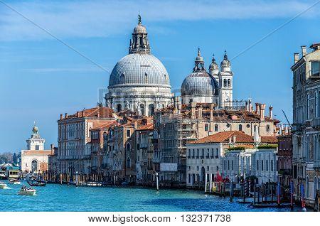 View on Basilica di Santa Maria della Salute in Venice, Italy