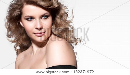 Woman With Blond Hair, Thick, Clean, Perfect Skin And Brown Eyebrows. On White Background
