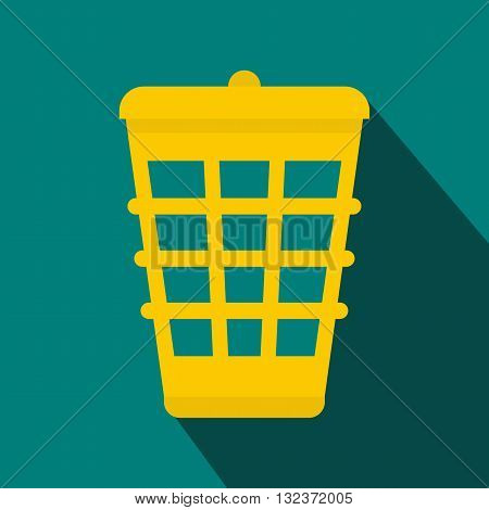 Yellow trash icon in flat style with long shadow. Waste and sanitation symbol