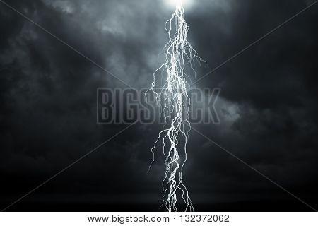 Lightning - A dark cloudy sky with rain and lightning
