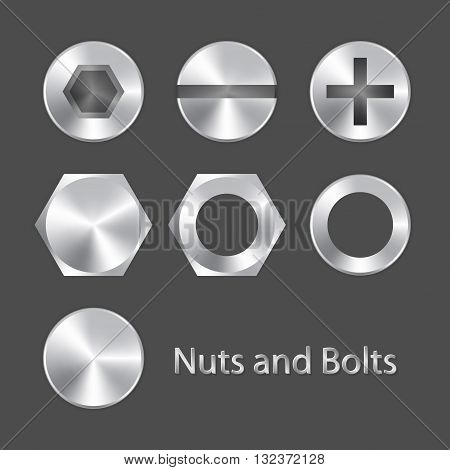 Nuts and bolts. Vector illustration EPS 10.