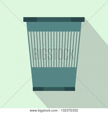 Plastic waste bin icon in flat style with long shadow. Waste and sanitation symbol