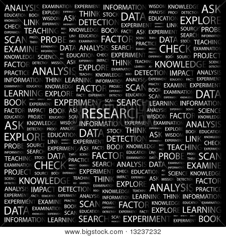 RESEARCH. Word collage on black background. Illustration with different association terms.