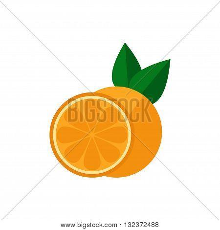Orange fruit icon. Orange icon isolated on white background. Flat style vector illustration.