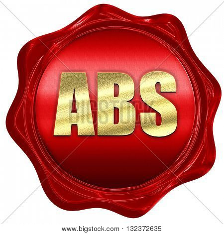ABS, 3D rendering, a red wax seal