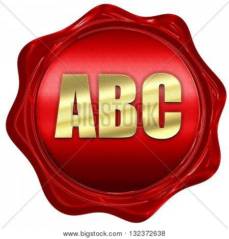 abc, 3D rendering, a red wax seal
