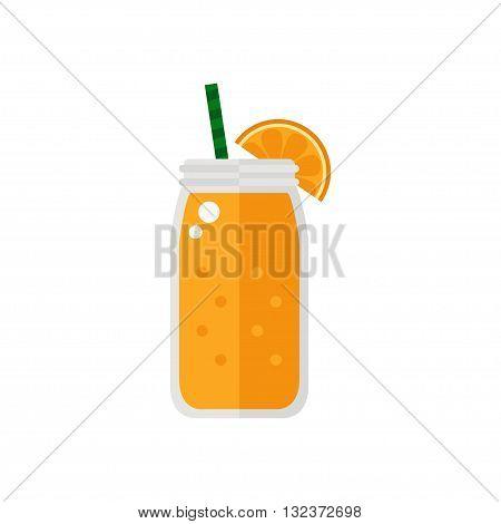 Smoothie. Orange smoothie icon isolated on white background. Jar with smoothie. Fresh smoothie. Flat style vector illustration.