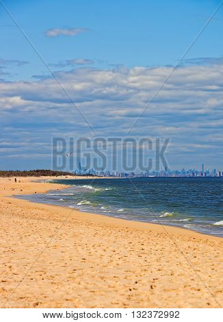 Atlantic Ocean At Sandy Hook With View To Nyc