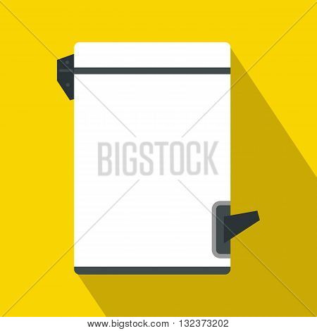 Trash bin with tilting lid icon in flat style with long shadow. Waste and sanitation symbol