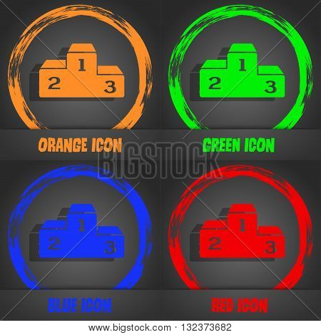 Podium Icon. Fashionable Modern Style. In The Orange, Green, Blue, Red Design. Vector