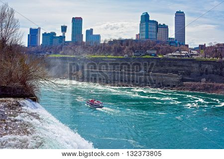 Niagara Falls And A Ferry In Niagara River