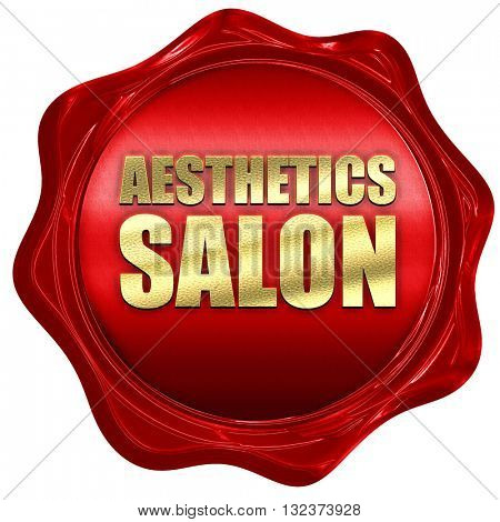 aesthetics salon, 3D rendering, a red wax seal