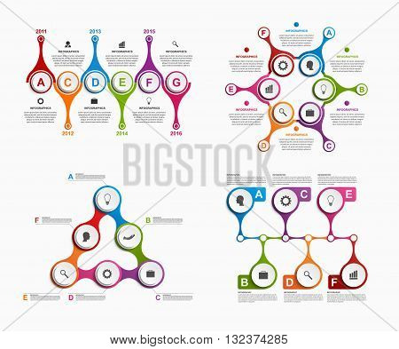 Set colorful infographics in the form of metabolic. Design elements.