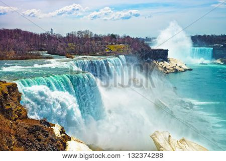 Niagara Falls From The American Side In Spring