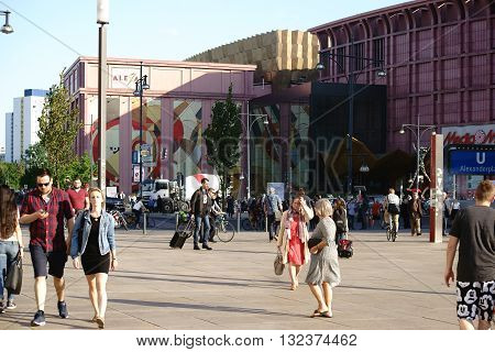 BERLIN, GERMANY - MAY 08: The busy and famous Alexander place with pedestrians and passersby in fine weather on May 08 2015 in Berlin.