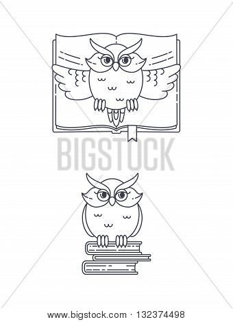 Vector owl and books. Illustration in lilear style