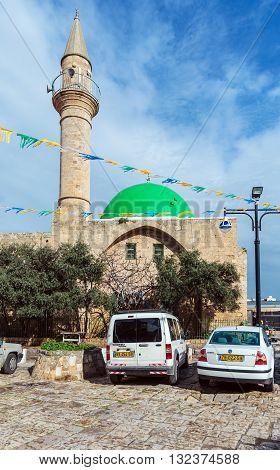 Acre, Israel - February 18, 2013: Car Parking Near  The Al-jazzar Mosque