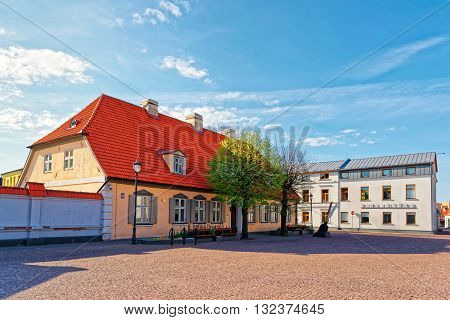 Town Hall Square Of Ventspils In Latvia