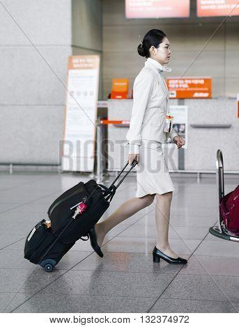 Asian Air Flight Hostess In Incheon International Airport