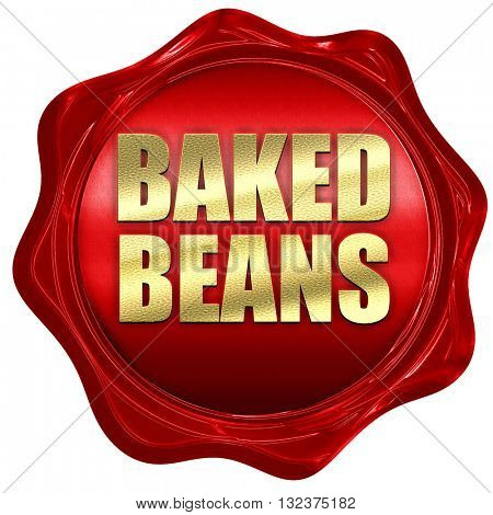 baked beans, 3D rendering, a red wax seal