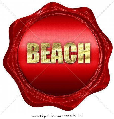 beach, 3D rendering, a red wax seal