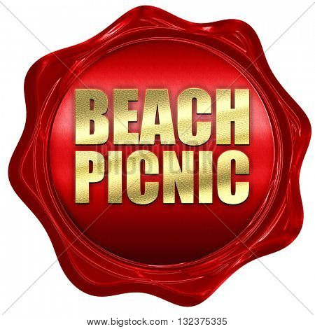 beach picnic, 3D rendering, a red wax seal