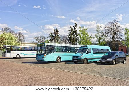 Ventspils Latvia - May 8 2016: Bus terminal in Ventspils in Latvia. Ventspils is a town in Courland region of Latvia. Latvia is one of the Baltic countries.