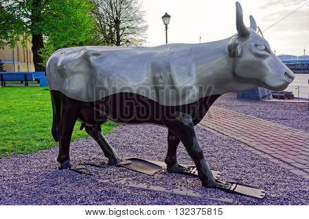 Ventspils Latvia - May 8 2016: Silver Cow Figure in the Street of Ventspils Latvia. Ventspils is a town in Courland region of Latvia. Latvia is one of the Baltic countries.