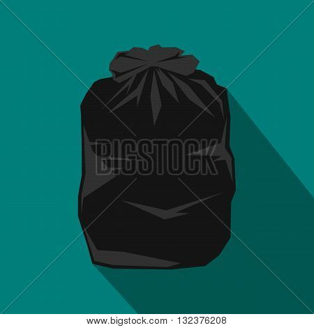 Black trash bag icon in flat style with long shadow. Waste and sanitation symbol
