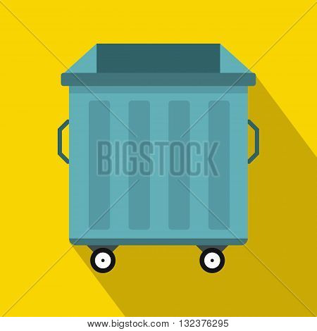 Dumpster on wheels icon in flat style with long shadow. Waste and sanitation symbol