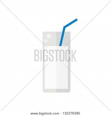 Milk icon. Glass of milk isolated icon on white background. Fresh milk. Flat style vector illustration.