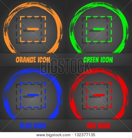 The Minus In A Square Icon. Fashionable Modern Style. In The Orange, Green, Blue, Red Design. Vector
