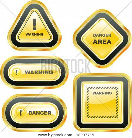 Warning vector banner. Vector set.