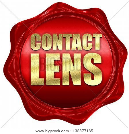 contact lens, 3D rendering, a red wax seal
