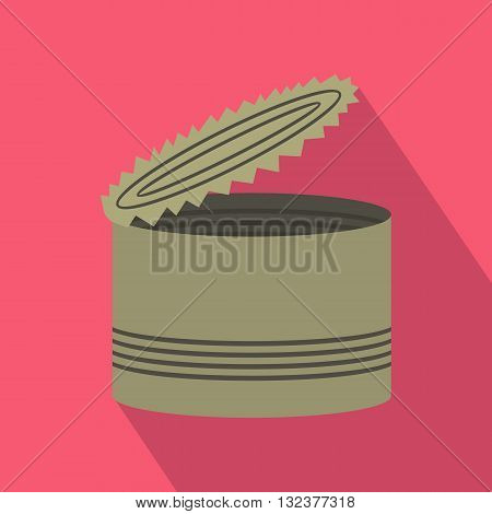 Open tin can icon in flat style with long shadow. Packaging symbol