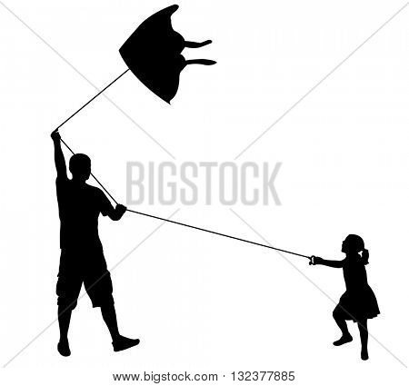 father and daughter playing with kite - vector