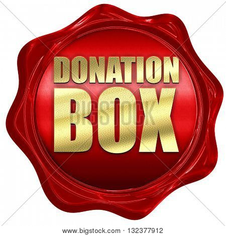 donation box, 3D rendering, a red wax seal