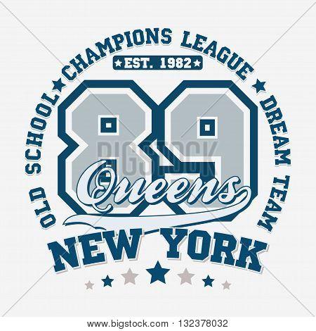 Sport t-shirt graphic design Sport print stamp New York sports wear typography emblem Creative design Vector