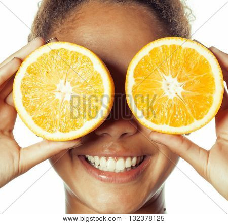 young smiling afro american woman with half oranges, lifestyle people concept isolated on white background