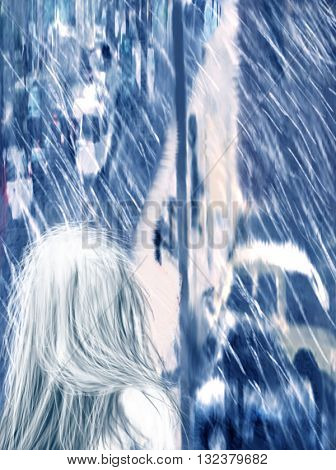 Blue Digital Illustration of White Haired Girl Gazing Out Window