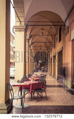 view of well known arches of Bologna Italy