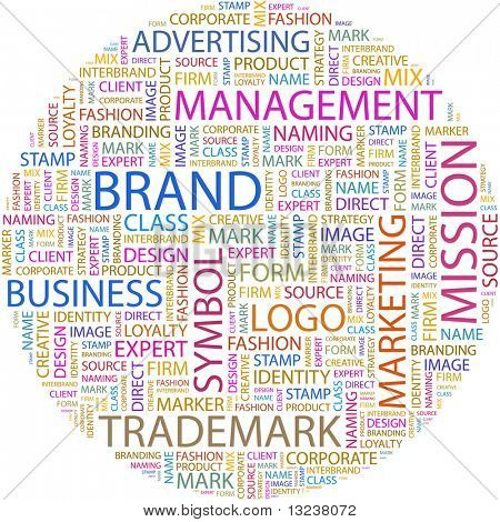 BRAND. Word collage on white background. Illustration with different association terms.